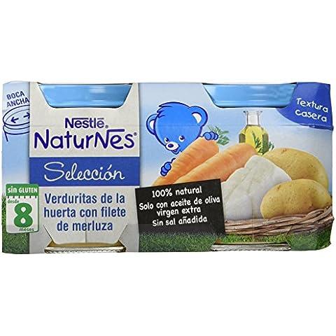 Nestlé Naturnes - Selección Verdurita de la Huerta con Filete de Merluza - A partir de 8 meses - Pack de 2 x 200 g - Total: 400