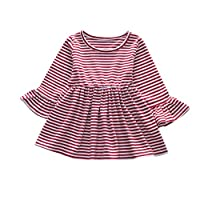 Auied (6M-4T Girls Half Sleeve Trumpet Pinstriped Top Dress Toddler Child Baby Girl Casual Princess Party Red, Gray