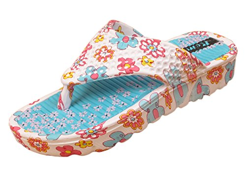 LADIES WOMENS FLORAL HOLIDAY SUMMER BEACH FLIP FLOPS TOE POST THONG SANDALS SIZE (UK 6 / EU 39, White / Blue)