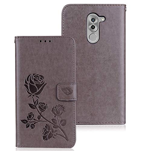 WIWJ Hülle Kompatibel mit Huawei Honor 6X,Premium Tasche Cover Handyhülle[Rose geprägtes Lederetui]Brieftasche Flip Case Lederhülle Schutzhülle Handyhüllen für Huawei Honor 6X-Grau
