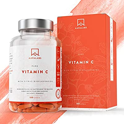 [ LAUNCH SPECIAL] Natural Vitamin C - 685 mg - 180 Capsules - with Natural Citrus Flavonoids, Rosehip , Camu Camu & Acerola Extract - Supports Immune Function - Keeps you Energized and your Skin Radiant - Nordic Purity: Gluten Free , NON-GMO & Vegan - 3rd