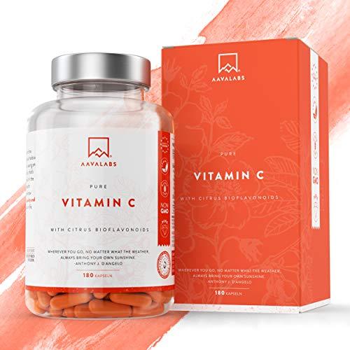 [ NOVEDAD ] Vitamina C Natural [685 mg] -  180 Cápsulas de Aava Labs -  Con los flavonoides de la fruta cítrica -  Extracto del escaramujo,  de Camu Camu y de Acerola -  Para la función inmune y la salud de la piel -  Sin transgénicos y vegano