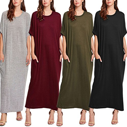 VONDA Women Round Neck Half Sleeve Pockets Casual Loose Oversize Long Maxi Dress