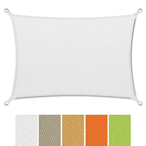 casa pura Sonnensegel Wasserabweisend imprägniert | Rechteck | Testnote 1.4 | UV Schutz | Verschiedene Farben und Größen (Weiß, 3x5m)