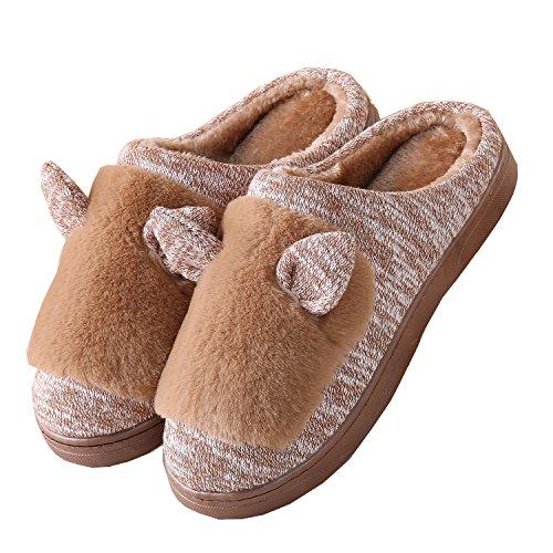 Gewirk Katzenohren Baumwolle Pantoffeln-Unisex Winter warm Pl¨¹sch Bootie Schuhe Kaffee
