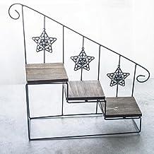 KaiGangHome Estantes de Aterrizaje Europeos Escalera de Caracol de Hierro Vintage Flor Soporte de Escritorio suculentas