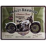 Nostalgic Art Harley Davidson Knucklehead - Placa decorativa, metal, 30 x 40 cm, color verde y beige