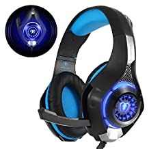Beexcellent GM-1, Cuffie Gaming con Microfono Isolamento Rumore e Luce LED Bassi Profondi per Xbox One PS4 PC, Nero/Blu