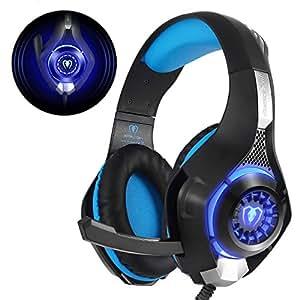 Beexcellent GM-1, Cuffie Gaming con Microfono Isolamento Rumore e Luce LED Bassi Profondi per Xbox One PS4 PC, Nero/Blu