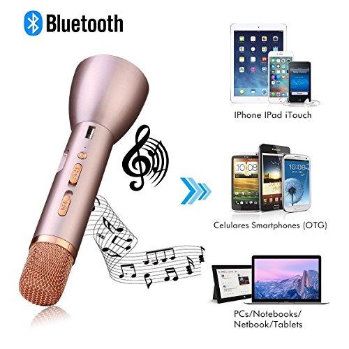 Microfono wireless portatile e altoparlante, Monodeal K088 Bluetooth 4.1 palmare microfono wireless per il karaoke Smule Sing, Youtube, iPhone Android Smartphone e PC - Gold