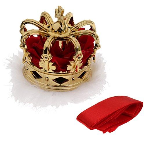 Prettyia Mini Königin Krone Tiara Hut Kostüm für Kanavel Party Zubehör - Gold
