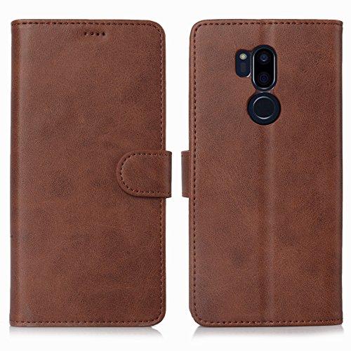 DDJ LG G7 Hülle, LG G7 ThinQ Hülle, Premium PU Leder Flip Case Schutzhülle mit Kartensteckplätzen für LG G7 ThinQ Smartphone (LG G7, braun)