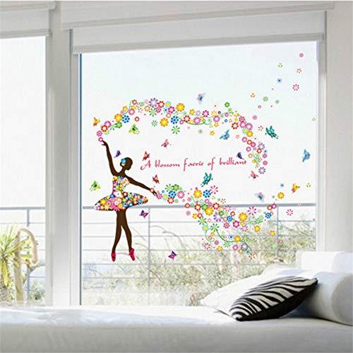 Mddjj Bunte Ballerina Wandtattoos Mädchen Baby Zimmer Tapete Poster Ballett Fee Fenster Glas Kopfteil Tattoo Aufkleber Grafik Wohnzimmer Dekoration Kinderzimmer -