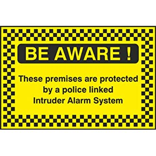 [WOOTTON INDUSTRIES LIMITED] 20cmx13.3cm Protected By Police Linked Alarm System Sign (Self Adhesive Vinyl Sticker Label Decal sign).