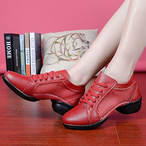549d09843632dc Azbro Women s Lace up Split Sole Mesh Dance Shoes Red  s Lace up ...