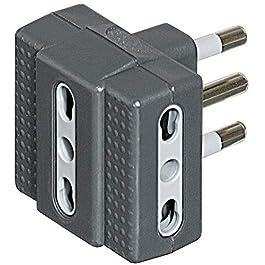 BTicino S3604G Kit Adattatore Tris, 3 Prese Bipasso, 10/16 A e Spina 16 A, Blister 90×122 mm, Antracite