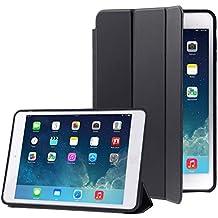 The fly Shop–Carcasa para Ipad Air 1/funda smart case para protección integral de piel sintética negra con protector de pantalla plegable y Retro duro