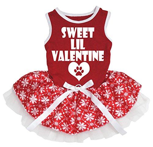 id Sweet Lil Valentine rot Baumwolle Shirt Schneeflocke Tutu (Lil Rot Kostüm)