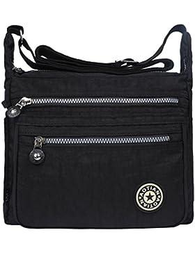 EGOGO Damen Umhängetasche Messengertasche Schultertasche Henkeltasche mit Reißverschluss E303-5