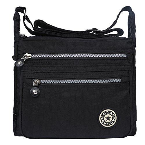 EGOGO Messenger Umhängetasche Umhängetasche mit Reißverschlusstaschen (Schwarz) (Brieftasche Mit Riemen)