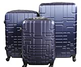 Orlacs modello Dublin 5 -Set valige Trolley da 3 pezzi,dopiia ZIP ampiezza , materiale ABS e policarbonato con 4 ruote girevoli 360° gradi colori vari (Blu Darck)
