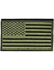 "OneTigris táctica parche de Velcro bandera de Estados Unidos moral militar de los Estados Unidos de América, ""US Flag - Green"", 3.74""(L) x 2.16""(W) / 9.5 x 5.5cm"