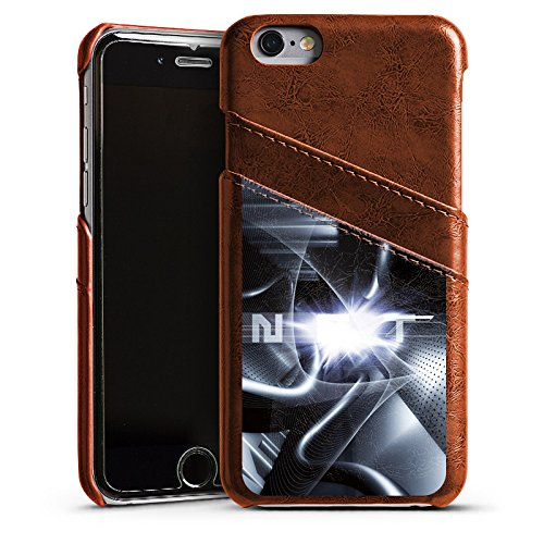 Apple iPhone 5 Housse Étui Protection Coque Techno Tunnel Chrome Étui en cuir marron