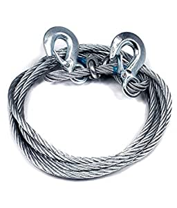 AutoSun Car Auto Full Steel Towing Tow Cable Rope 3000kgs 6mm Heavy Duty 4Mtr