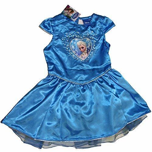 (Kleid kostüm Königin der Schnee Frozen Disney Satin Strass Organza Zeremonie Elegant - Blau, Mädchen, 5 Jahre)