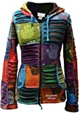 shopoholic Moda Da Donna Multicolore henné Mano A punta Felpa con cappuccio Sbiadito Hippy Giacca - multicolor, XX-Large