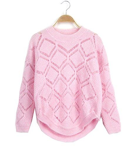 Zitrone Mädchen Frauen Crewneck Candy geometrische Diamant aushöhlen Pullover Pullover (Crewneck Dolphin Sweatshirt)