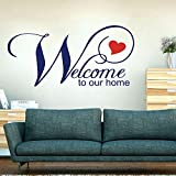 Bienvenue dans notre cuisine de salon de décalque de mur de coeur vous souhaite la bienvenue, stickers muraux en vinyle de famille56x27cm