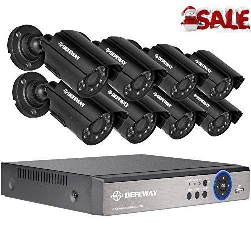 DEFEWAY Kit de Cámaras de Vigilancia Seguridad, 8CH 1080N DVR Con 8 x 720P Con Camaras, IR-CUT, Visión Nocturna, Android/iOS APP, Detección de Movimiento, Email Alarma