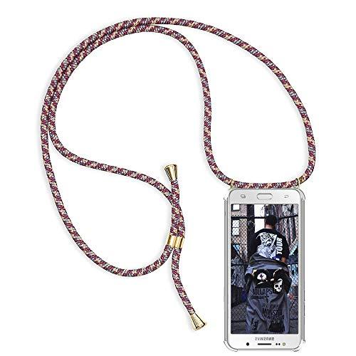 TUUT Handykette kompatibel mit Samsung Galaxy J7 2016 / J710 Handy-Kette Handy Hülle mit Kordel zum Umhängen Handyanhänger Halsband Lanyard Case/Handy Band Necklace [Stoßfest] - Rot