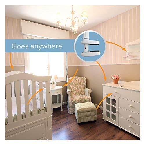 WOndr Universal {Baby Monitor Holder} Flexible Hose Camera Stand, Clamp Easy Mounted on Shelf for Nursery & Phones. Baby Video Monitor Cameras: BT, Motorola & Babysense Baby Monitors (Blue/White)