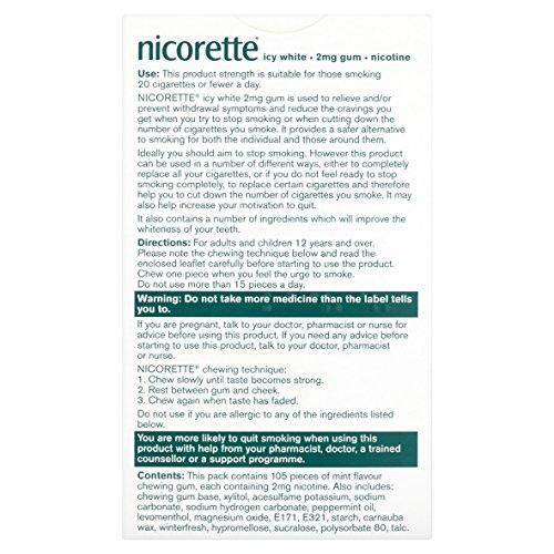 Nicorette Icy White Gum 2 mg, 105 Pieces