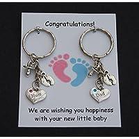 Mum Dad pregnancy expecting Handmade charm keyring baby shower gift UK FREE POST