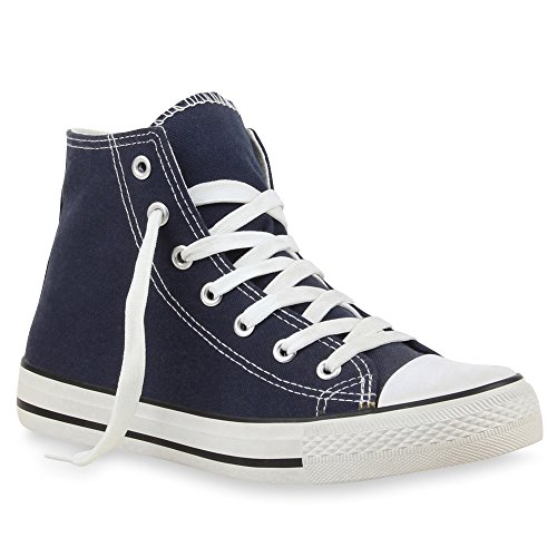 Stiefelparadies - Pantofole a Stivaletto Donna Blu (blu scuro)
