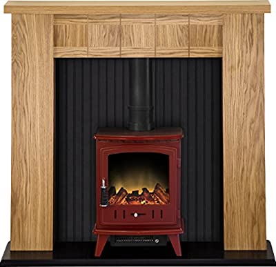 Adam Ravensburg Stove Suite with Aviemore Electric Stove in Red, 48 Inch
