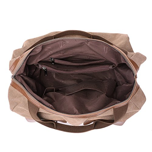 Segeltuchbeutel Große Kapazität Weiblicher Schulterbeutel Kurierbeutel-Mehlkloßbeutelreißverschluss Brown