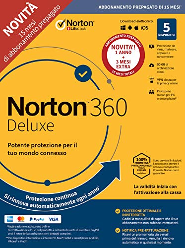 Norton 360 Deluxe 2020 | 5 Dispositivi | Licenza di 15 mesi | Secure VPN e Password Manager | PC, Mac, tablet e smartphone
