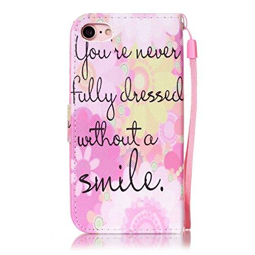 CaseHome iPhone 7 4.7'' PU Leder Hülle Mode der eleganten Fall Schön Geprägte Muster Gedruckt Entwurf (Mit freiem HD Schirm-Schutz) Tadellos gepasst für iPhone 7 4.7'' PU Leder Hülle Magnetischer Flip Rosa Lächeln
