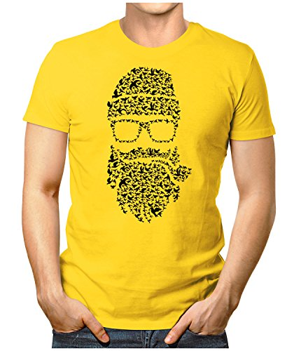 PRILANO Herren Fun T-Shirt - BIRDS-BEARD - Small bis 5XL - NEU Gelb