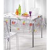 DECORLINE Nappe Cristal Imprimé Macarons PVC Transparent 140 x 240 cm