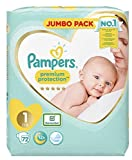 Pampers Pañal para bebé recién nacido, tamaño 1, protección premium, 2 x 72 =...