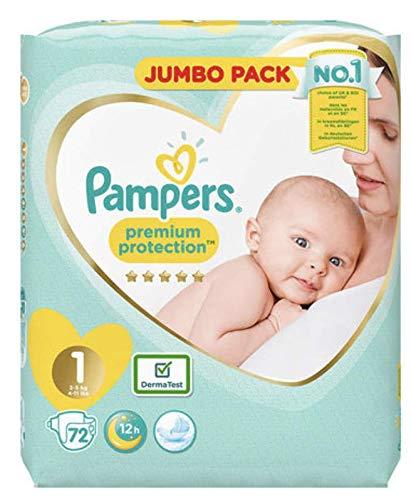 Pampers Lot de 2 couches géantes pour nouveau-né Taille 1 Protection de qualité supérieure 2 x 72 = 144 couches conçues spécialement pour la peau délicate de votre béb