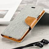 #9: Tran Taran Covers For Apple iPhone 5 5s Flip Cover Dairy Wallet Case (Canvas Series) (Grey)