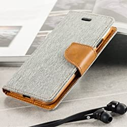 First 4 Covers For Samsung Galaxy A5 (16) Flip Cover Dairy Wallet Case (Canvas Series) (Grey)