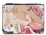 Clayre & Eef BAG313 Kosmetiktasche Schminktäschchen Kulturbeutel Elegant PARIS ca. 22 x 16 cm