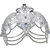 Masquerade Halloween Mask Metal con Rhinestone Laser Cut Venetian Mask Party (Plata)
